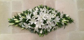 3. Premium Oriental Lily Coffin Double ended Spray - 3', 4', 5' - funeral tribute - White or Pink lilies