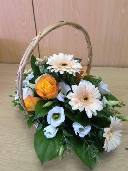 Handled Basket fresh seasonal flower arrangement - available in either custom colours or seasonal mix