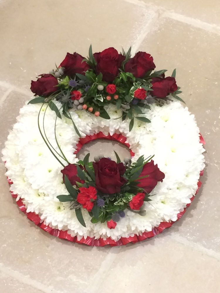 1. Funeral traditional wreath - white chrysanthemum based - choice of colou