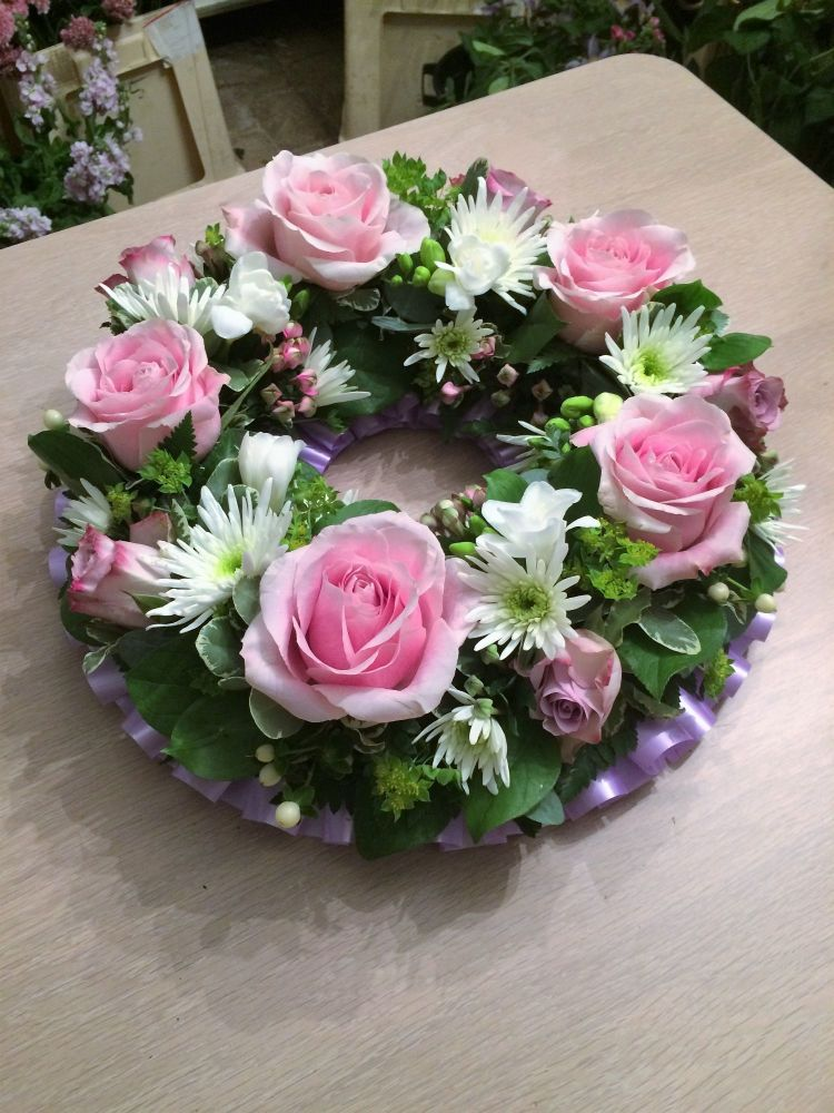 Classic open design funeral wreath - available in a choice of colours and s