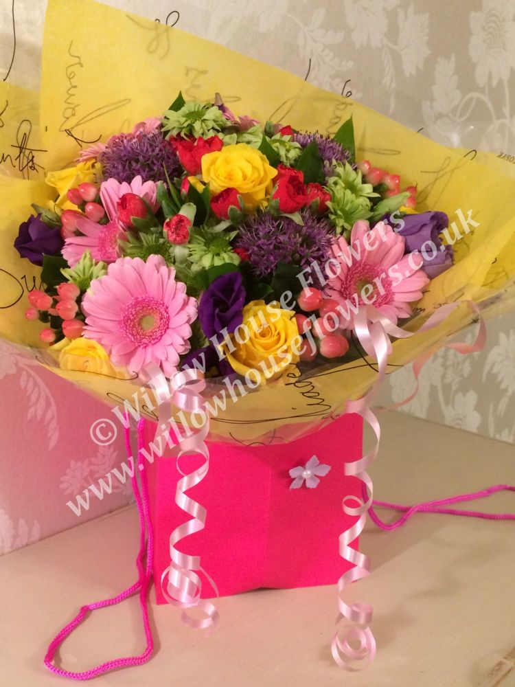 Brights Bouquet - lovely cheerful fresh flower bouquet - Vase NOT included