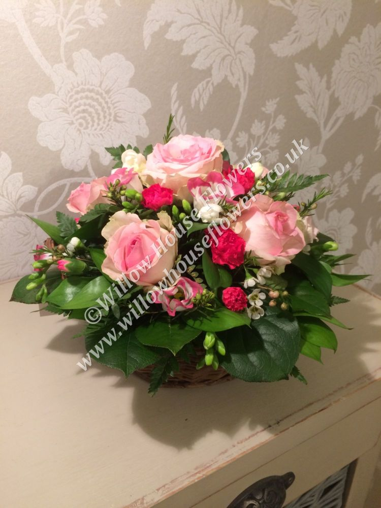 Round Basket fresh seasonal flower arrangement - various Rose colours or a