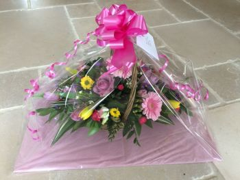 Handled Basket fresh seasonal flower arrangement - available in either custom colours or seasonal mix