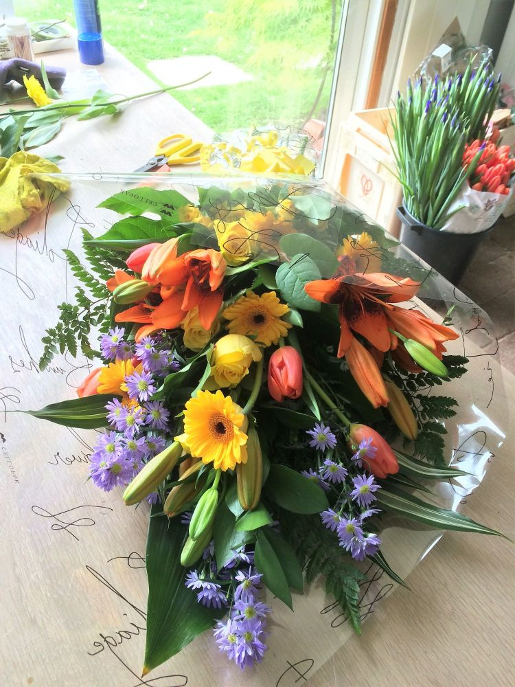 Flat Hand Tied Bouquet - mixed seasonal flowers in a choice of colours