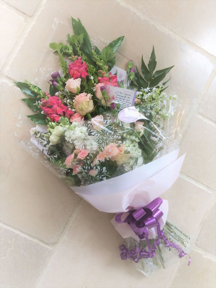 Lay Flat Hand Tied Bouquet - mixed seasonal flowers in a choice of colours