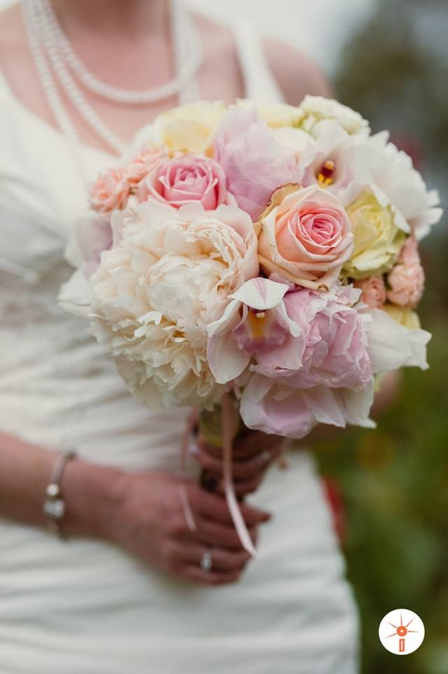 Laura brides bouquet peonies roses orchid