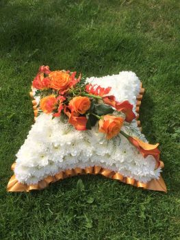 8. Traditional Funeral Cushion - wreath / tribute available in a choice of colours
