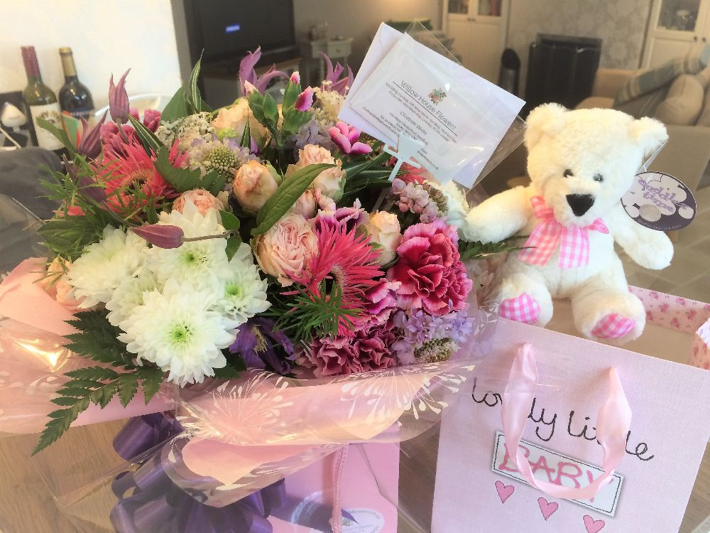 2. New Baby Girl - Bouquet, gifts, teddy, balloons