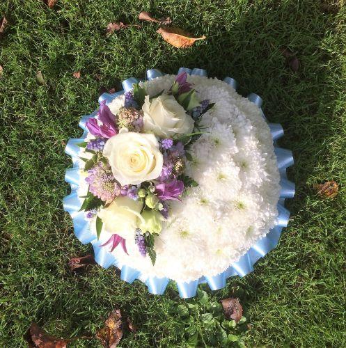 Funeral tribute - based posy pad - white, yellow or pink chrysanthemum base
