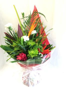 Modern, front facing arrangement - £35.00 - choice of Tropical theme or Florist Choice