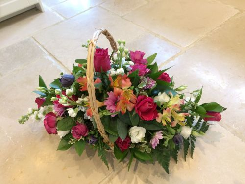 Roses floral arrangement in a trug/basket - choice of colourway