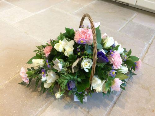Pretty Seasonal fresh flower basket trug arrangement - perfect gift for Bir