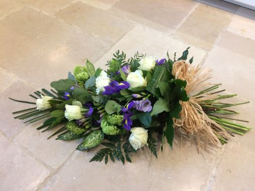 Hand tied sympathy Sheaf - funeral sheaf arrangement in seasonal flowers -