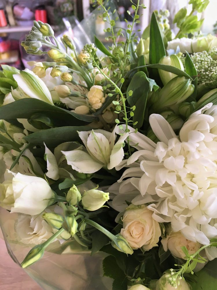 Luxury - Classy Whites hand tied bouquet - Free same day local delivery - £