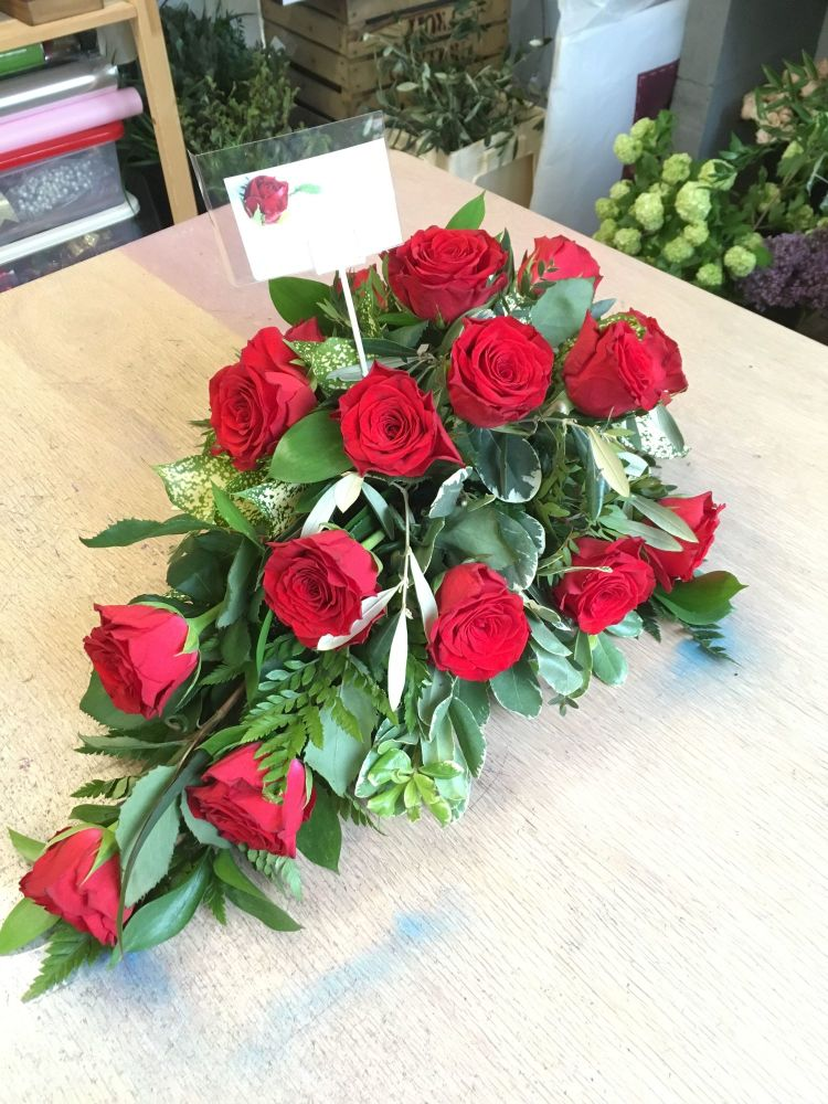 8. Premium Rose Stem - Single ended funeral spray - choice of colours - £50
