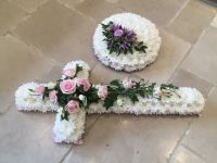Chrysanthemum based Traditional Cross - available in a choice of colours and sizes - Minimum 48hr notice required