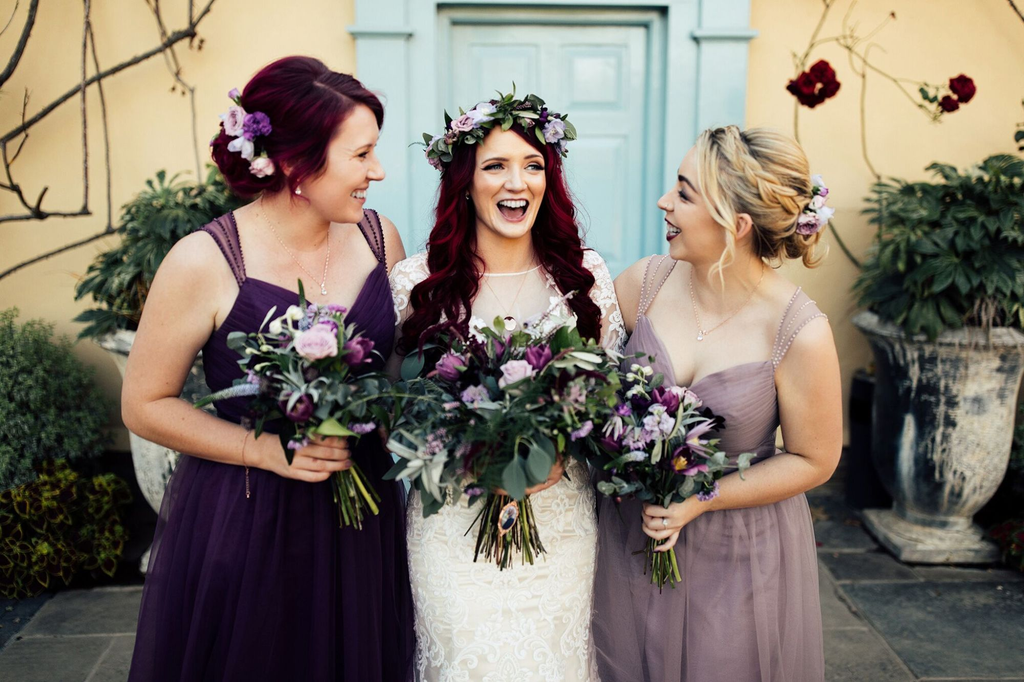 Beki bride and bridesmaids bouquet hair crown and flowers professional phot