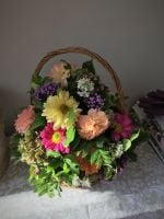 Round Basket fresh seasonal flower arrangement - various Rose colours or a seasonal flower mix