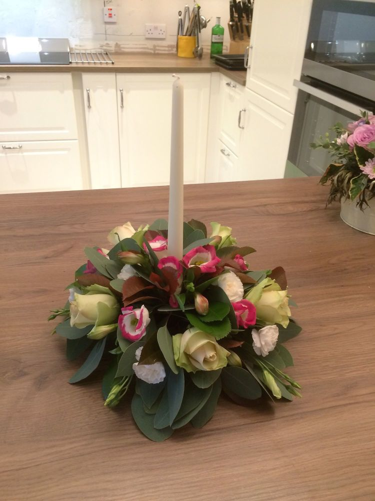 Christmas Table round dinner candle arrangement - £17.00