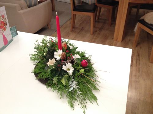 Christmas Table oval dinner candle arrangement - £22.00
