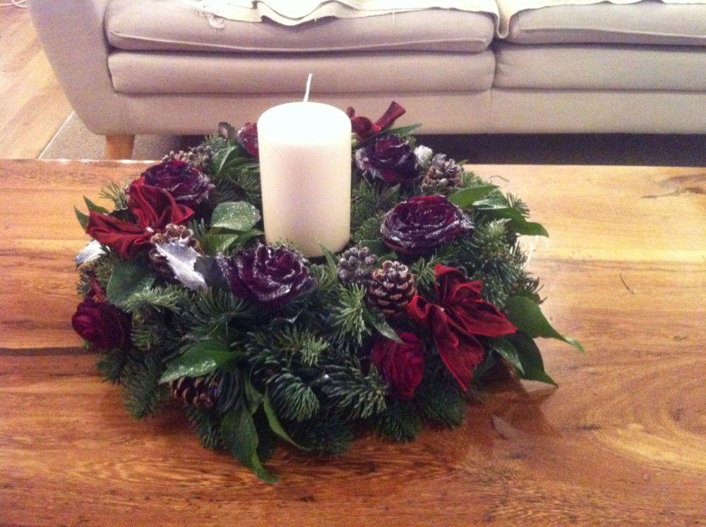 Luxury Christmas Table round large candle arrangement - £50.00