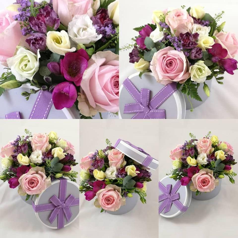 1. Hat box fresh flower gift arrangements