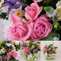 Cheerful, floral decorated, hat box of spring blooms