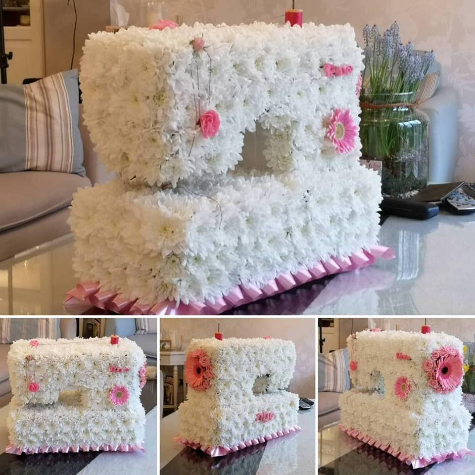sewing machine funeral tribute 3d wreath