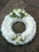 1. Funeral traditional wreath - white chrysanthemum based - choice of colours and sizes available
