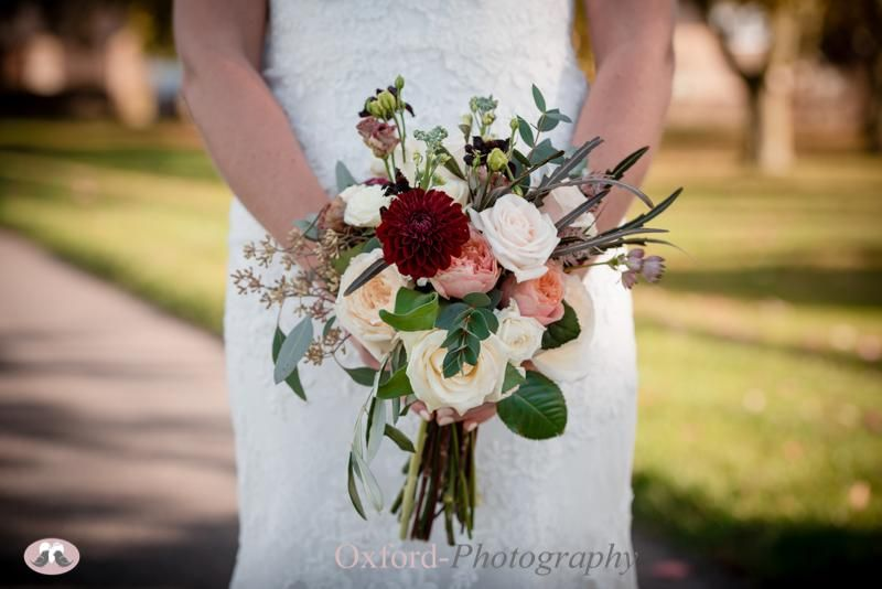 Bridal Bouquet - peach, burgundy and ivory - the Great Barn