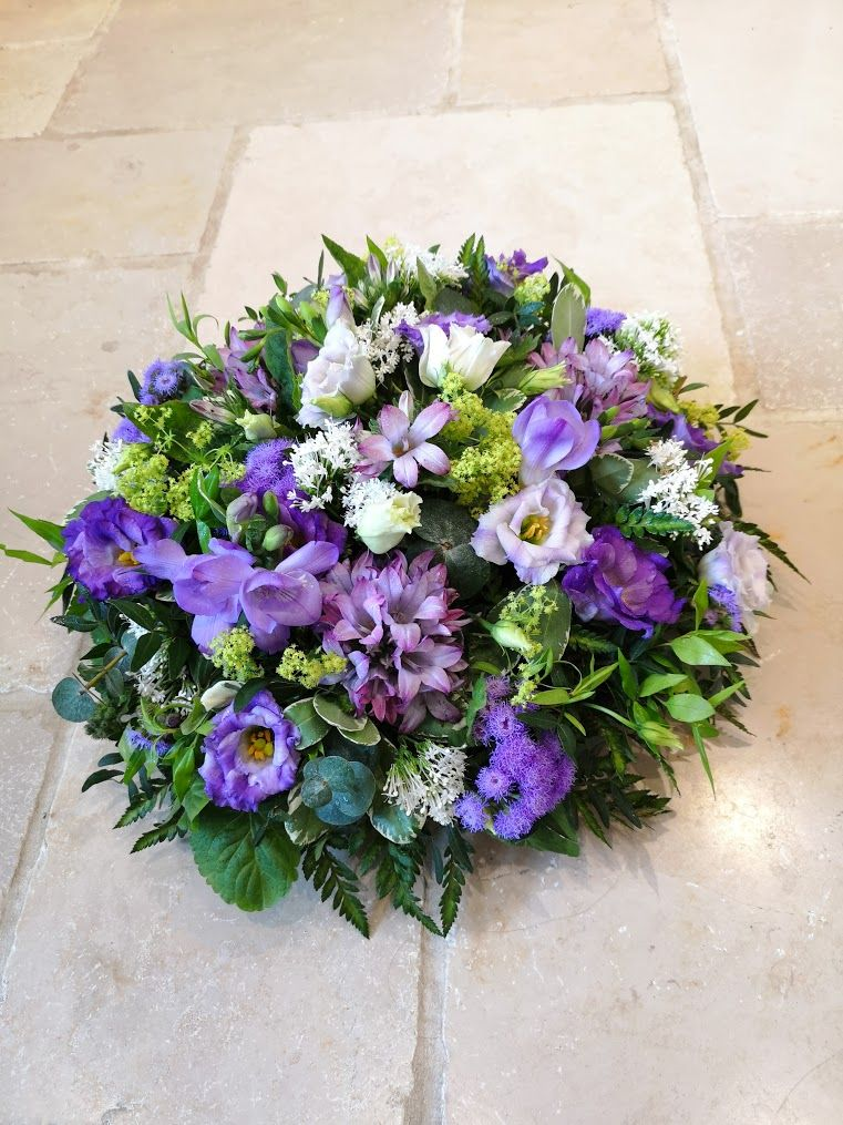Classic loose open design funeral tribute posy pad - available in a choice