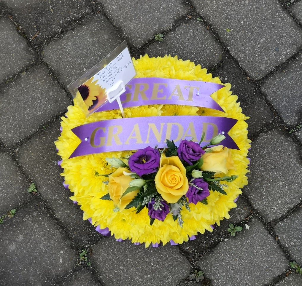 Funeral tribute - based posy pad - white, yellow or pink chrysanthemum base