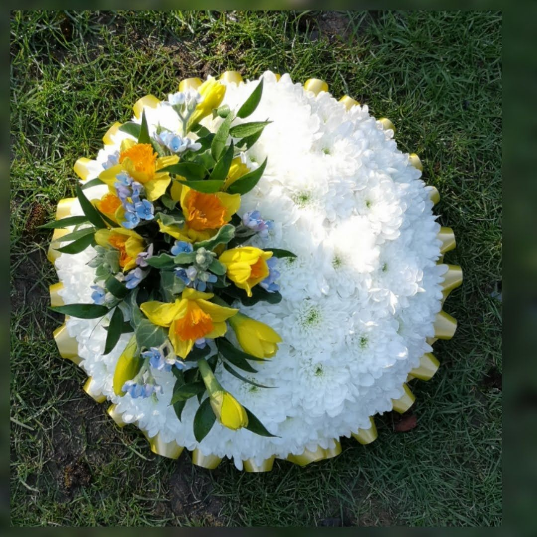 Funeral tribute - based posy pad - Spring flowers, white, yellow or pink ch
