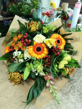 Environmental / Eco friendly Lay Flat Hand Tied Bouquet - choice of colours - from £35.00