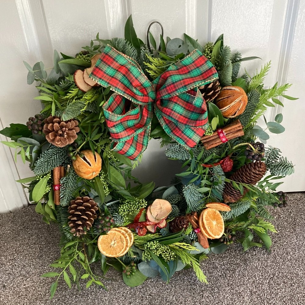 Natural, rustic style, traditional Christmas fresh wreath from £25.00