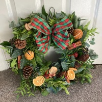 Natural, rustic style, traditional Christmas fresh wreath from £25.00 - FREE local delivery