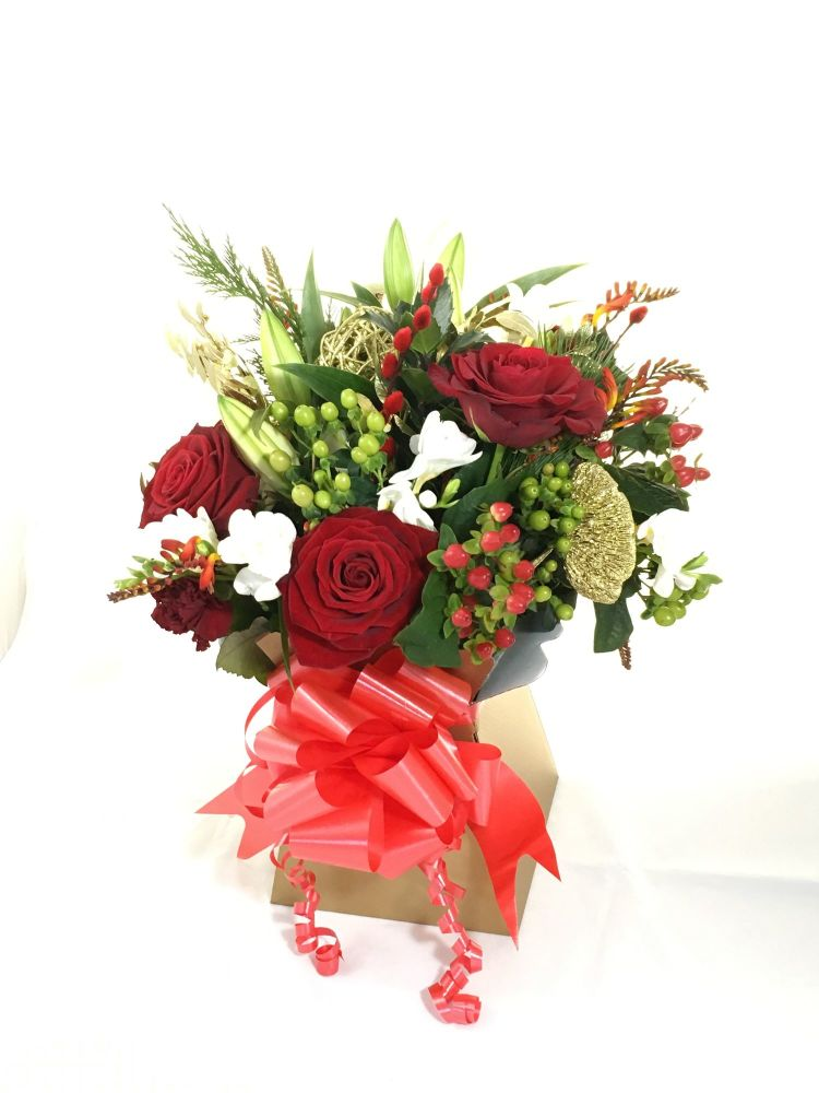 Luxury - Mixed Seasonal Fresh Flower Christmas Bouquets - perfect gift for