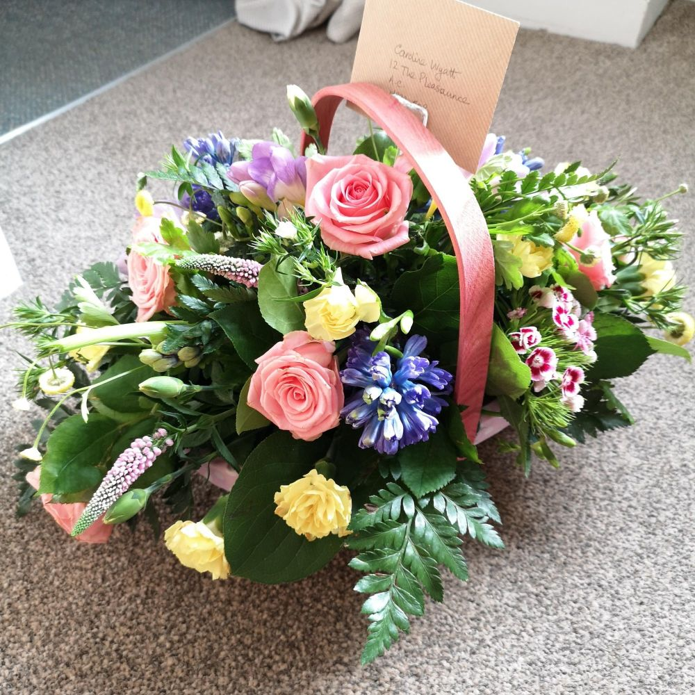 Fresh flower floral arrangement in a trug - choice of colourway - Mother's