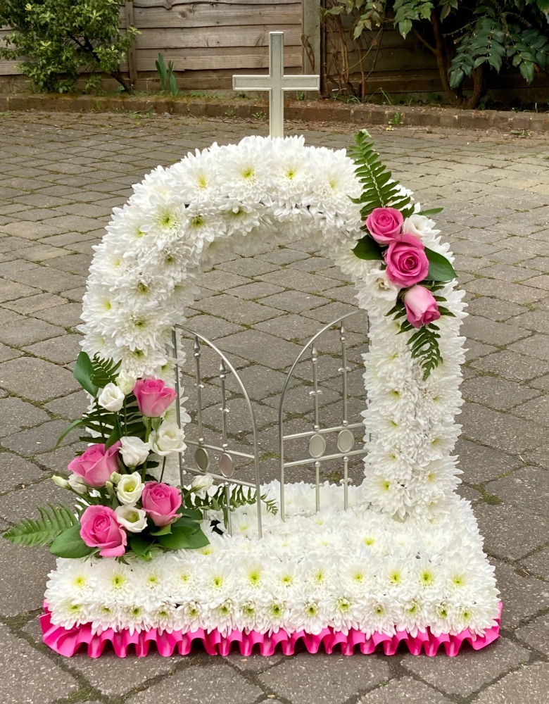 Traditional Funeral Tribute - Open Gates Of Heaven wreath - available in a