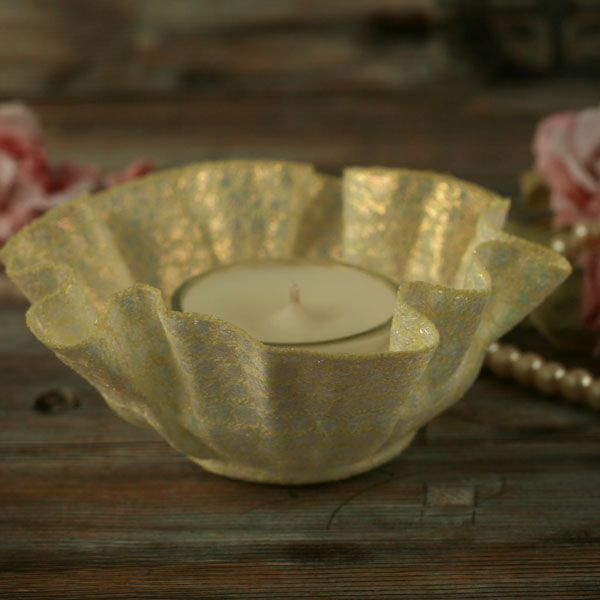 <!-- 011 --> Embroidered Tea-light Holders