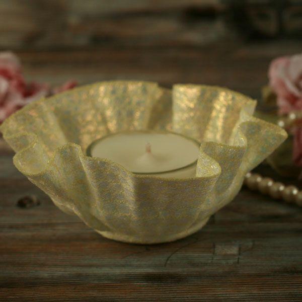 <!-- 006 -->Embroidered Tea-light Holders
