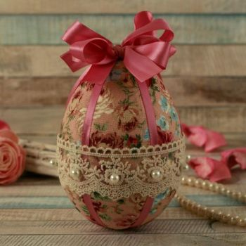 Shabby Chic Pink Floral Hanging Easter Egg Decoration