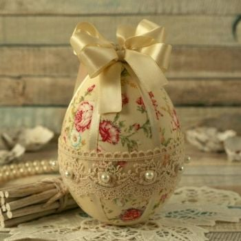 Shabby Chic Yellow Floral Hanging Easter Egg Decoration