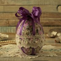 <!-- 004 -->Vintage Style Purple Floral Hanging Easter Egg Decoration