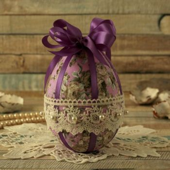Vintage Style Purple Floral Hanging Easter Egg Decoration