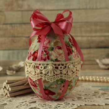 Shabby Chic Blue Floral Hanging Easter Egg Decoration