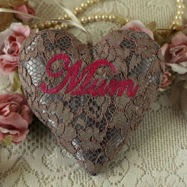 Mother's Day Embroidered Lace Hanging Heart
