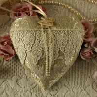 <!-- 004-->Lace Anniversary Vintage Style Fabric Hanging Heart