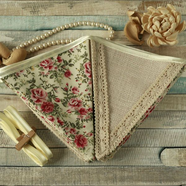 Vintage Floral and White Hessian Fabric Bunting
