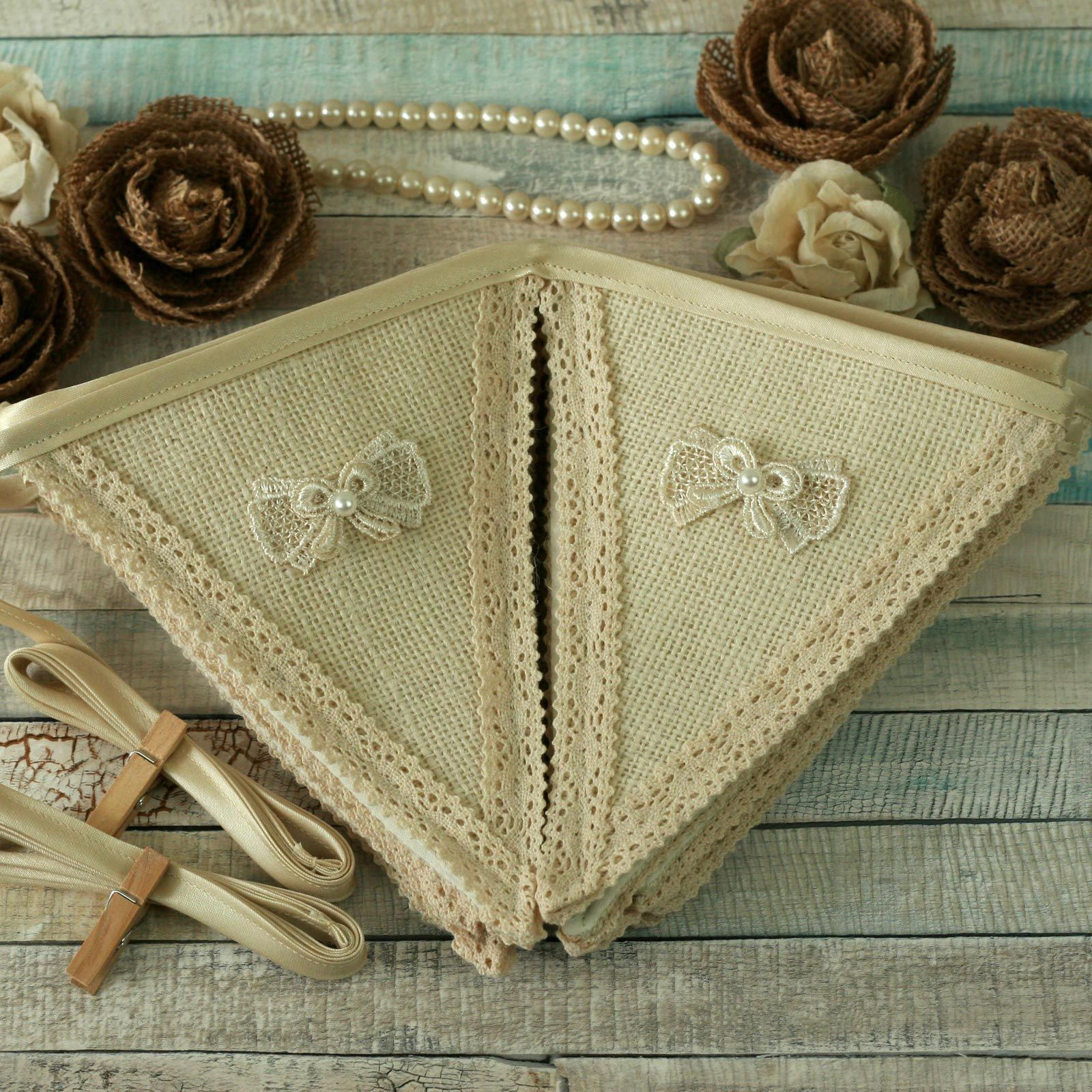 White burlap and lace fabric wedding banner